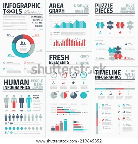 Business infographic elements vector illustration with timelines, statistics and business metaphors. - stock vector