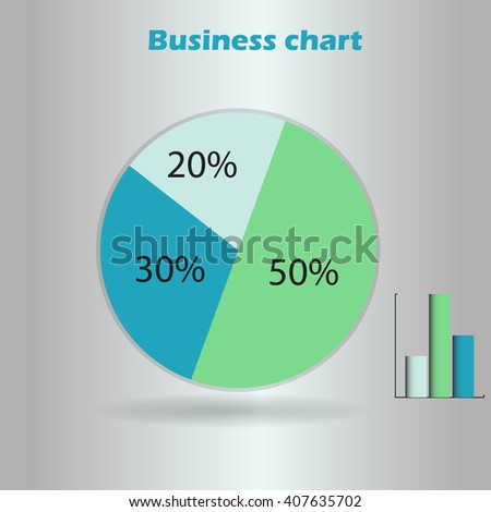 business infographic form blank live pie and column graph circle percentage blue green chart 20 30 50 % set illustration round vector