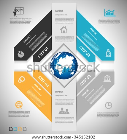 Business infographic template for interactive data communication - stock vector