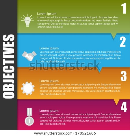 Business infographic template for objective concept - stock vector