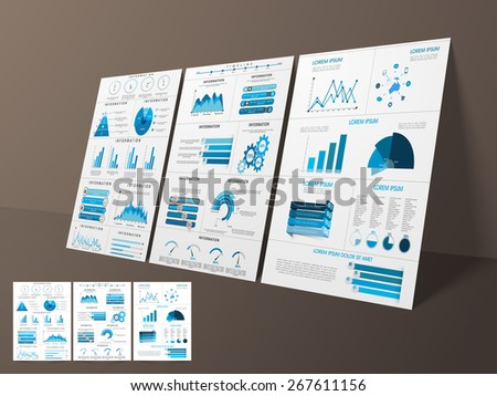 Business Infographic template layout with statistical bars, graphs and pie chart for corporate sector. - stock vector