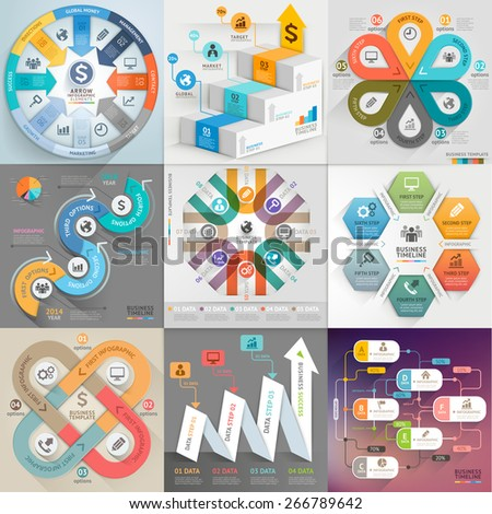 Business infographic template set. Vector illustration. can be used for workflow layout, banner, diagram, number options, web design, timeline elements - stock vector