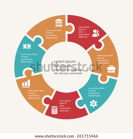 Business infographic template set. Vector illustration for cycle diagram, presentation and round chart. - stock vector
