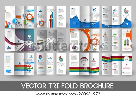 Business Infographic Tri-fold Brochure Design Bundle. - stock vector