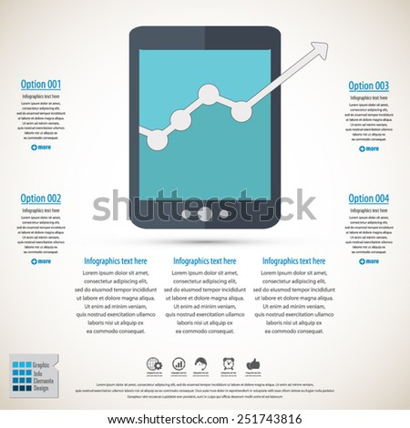 Business infographic with tablet icon - EPS10 vector - All elements (background, icon, text) in separate layers.Can be used in any project. - stock vector