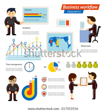 Business Infographic Workflow Illustration Showing Various Stages of Business - stock vector