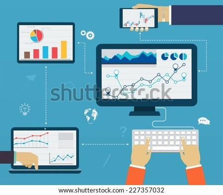 Business infographics by using modern of digital devices, reporting, statistical charts and graphs - stock vector