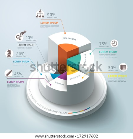 Business Infographics circle graph Vector illustration. can be used for workflow layout, banner, diagram, number options, step up options, web design. - stock vector