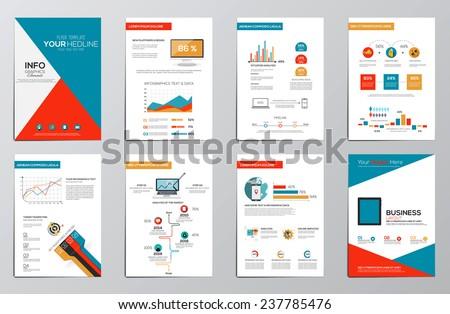 Business infographics elements for corporate brochures. Flat design. Vector - stock vector