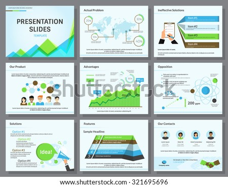 Business infographics presentation slides template with flat illustrations of task list, people, megaphone and chart - stock vector