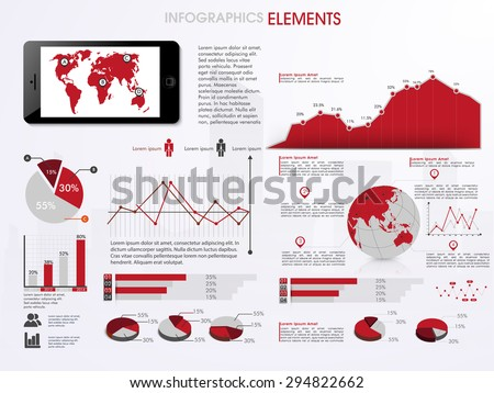 Business infographics set with information graphics and world map on smartphone screen.  - stock vector