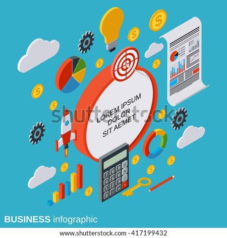 Business infographics, statistics, analysis flat isometric vector concept illustration - stock vector