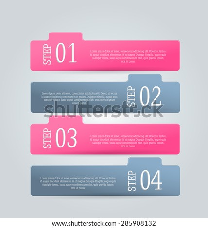 Business infographics tabs template for presentation, education, web design, banner, brochure, flyer. Pink and grey colors. Vector illustration.