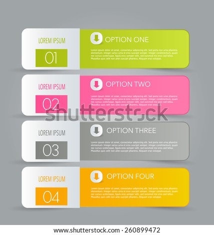 Business infographics tabs template for presentation, education, web design, banners, brochures, flyers. Vector illustration. - stock vector
