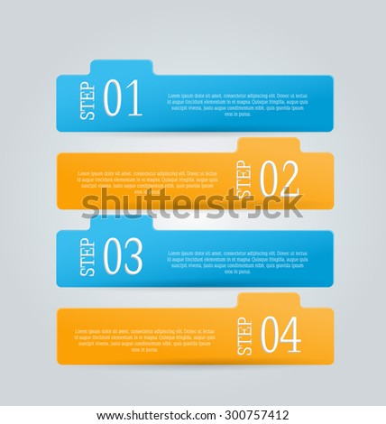 Business infographics template for presentation, education, web design, banners, brochures, flyers. Blue and orange tabs. Vector illustration.