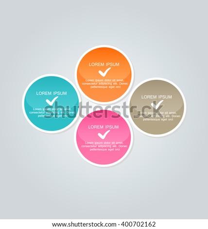 Business infographics template for presentation, education, web design, banners, brochures, flyers. Orange, brown, pink, blue color tabs. Vector illustration. - stock vector