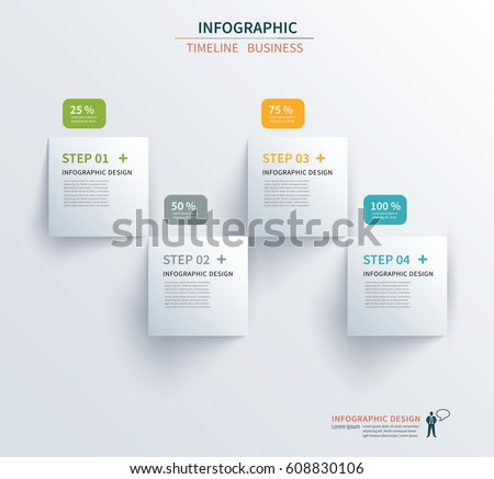 Business infographics template 4 steps with square. Can be used for workflow layout, diagram, number options,  web design, presentations