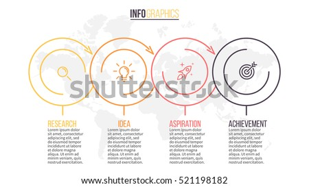Business infographics. Timeline with 4 steps, circles, rings. Vector linear infographic element.