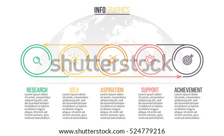 Business infographics. Timeline with 5 steps, circles, rings. Vector linear infographic element.