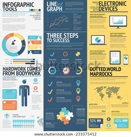 Business infographics vector elements in 3 flat business colors. Red, blue and yellow modern colored data visualization set to turn your statistics into awesome graphics. - stock vector