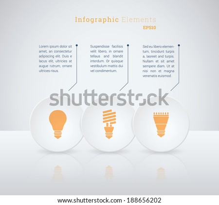 Business infographics vector illustration with light bulb icon set for workflow layout, web site design, diagram, number options - orange, white version - stock vector