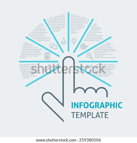 Business infographics with 8 options, vector template for graph, presentation, chart isolated on light background - stock vector