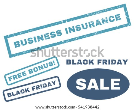 Business Insurance rubber seal stamp watermark with bonus images for Black Friday sales. Vector cyan and blue stickers. Tag inside rectangular banner with grunge design and unclean texture.