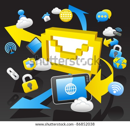 business,internet,computing,cloud computing,tablet PC concept.