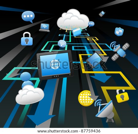 business,internet,computing,cloud computing,tablet PC concept. - stock vector