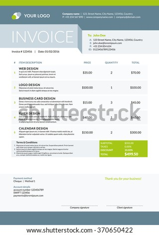 Invoice Template Stock Images, Royalty-Free Images & Vectors