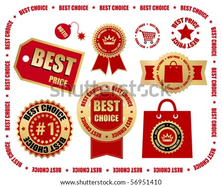business labels set - best choice - stock vector