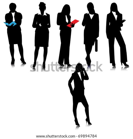 Business ladies  silhouettes.Vector - stock vector