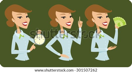 Business lady cartoon character  - stock vector