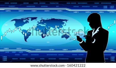 Business lady with tablet computer (EPS10 vector) - stock vector