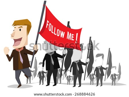 Business Leader Business people following their leader carrying a flag - stock vector