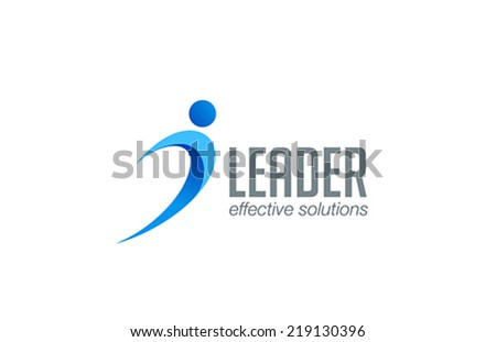 Business Leader man abstract logo design vector template. Winner sport fitness logotype. Leadership training concept icon. - stock vector