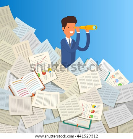 Business leadership and goal concept. Businessman stands in stack of papers looking through spyglass into future. Flat design, vector illustration. - stock vector