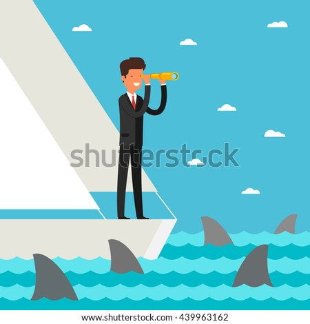 Business leadership and goal concept. Businessman stands in yacht looking through spyglass into future in ocean with shark. Flat design, vector illustration. - stock vector