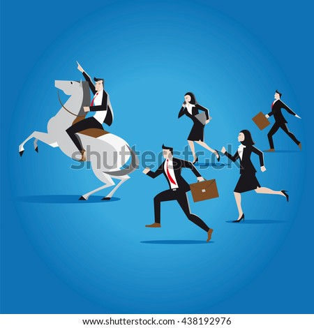 business leadership. businessman rides a white horse and commands his team of businessmen, businesswomen, brokers, lawyers and consultants to win in business  - stock vector