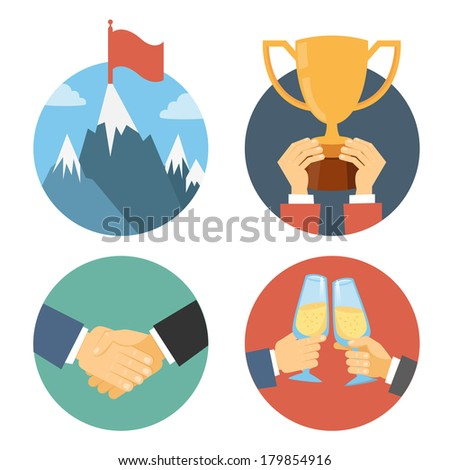 business leadership vector illustration in flat design: success celebration victory and handshake - stock vector