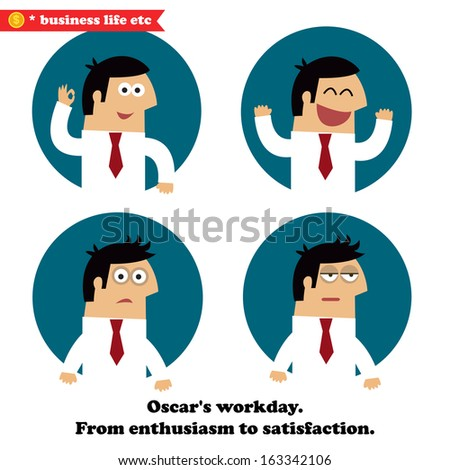 Business life and emotions set of enthusiasm, joy, frustration and fatigue vector illustration - stock vector