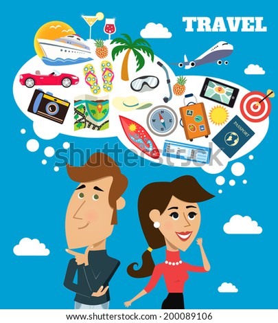 Business life cheerful woman and man with speech bubble travel dreams scene vector illustration - stock vector
