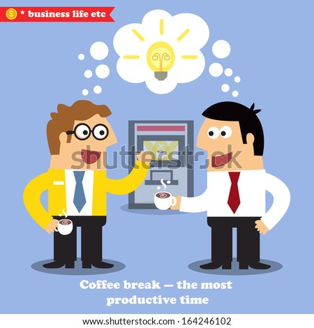 Business life. Coffee break for collaboration and idea sharing vector illustration - stock vector