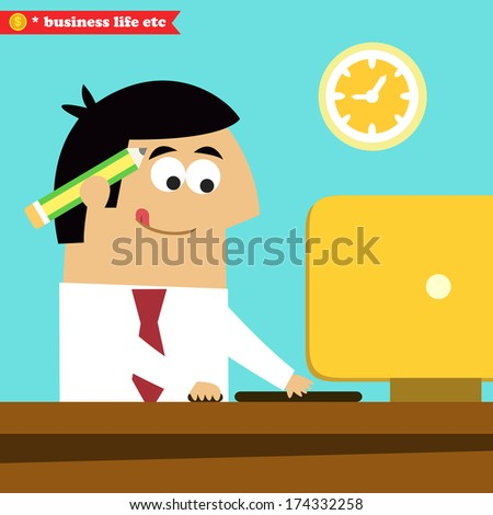 Business life. Manager working diligently on the computer vector illustration