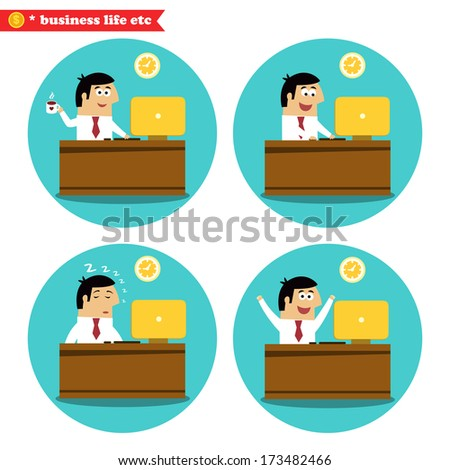 Business life. Office worker at the desk coffee break, achievement and sleeping set vector illustration - stock vector