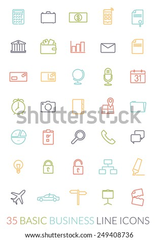 Business Line Icon Vector Set. Collection of 35 basic business colored line icons on white background - stock vector