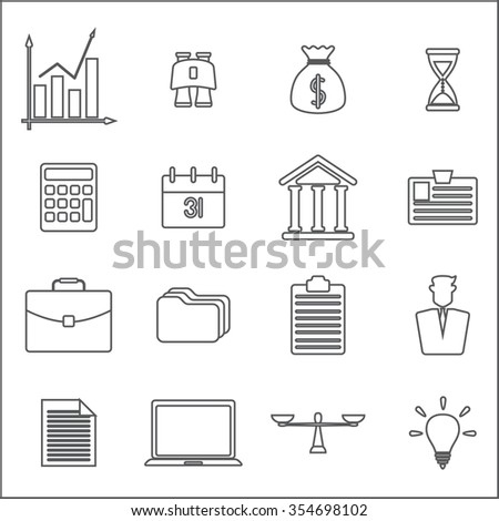 Business line Icons - stock vector