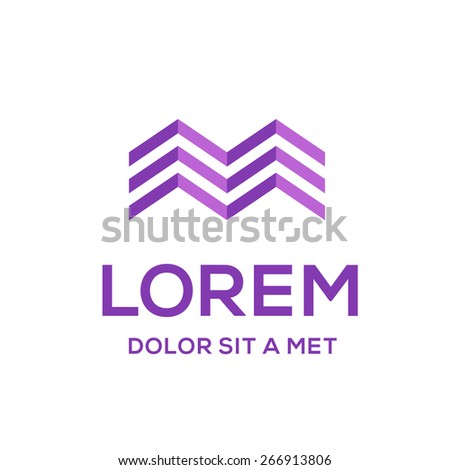 Business logo icon design template with letter M and house  - stock vector