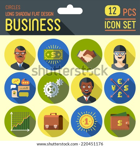 Business. Long shadow flat design circle icon set. Vector trendy illustrations. - stock vector