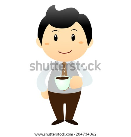 business lunch, isolated smiling businessman with hot coffee cup - stock vector